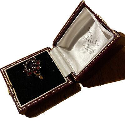 Beautiful Vintage Sterling Silver Bohemian Garnet Ring RJco 1972