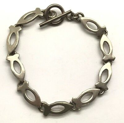 Vintage Oxidized Sterling Silver Geometric Abstract Fish Chain - Toggle Bracelet