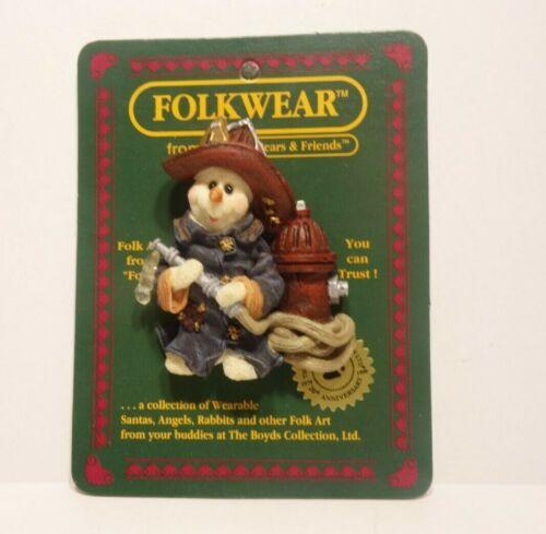 Boyds Bears FolkWear Snowman Murphy Fire and Ice Fireman Pin #26328