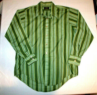 1970s Men's Shirt Styles – Vintage 70s Shirts for Guys Vintage 1960s/1970s MOD Green Striped Button Front Shirt Pennys Towncraft Large $43.99 AT vintagedancer.com