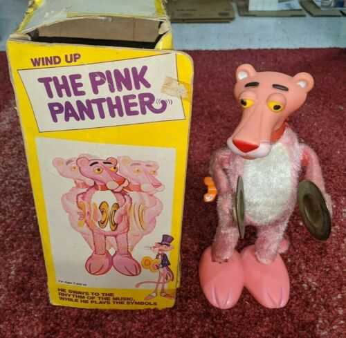 Vintage The Pink Panther Wind Up Toy Sways While Playing Cymbals Original Box
