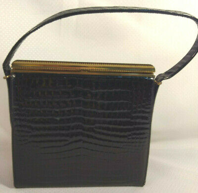 1950s Handbags, Purses, and Evening Bag Styles Vintage Block Black Patent Leather Gold Frame Single Handle Purse Bag 1950s-60s $35.99 AT vintagedancer.com
