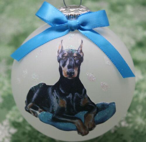 D055 Hand-made Christmas Ornament dog Doberman Pinscher - regal laying pillow