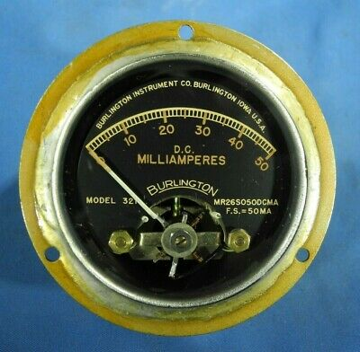 Vintage Burlington Model 321 Dc 0-50 Milliamperes Brass Panel Meter Free Ship