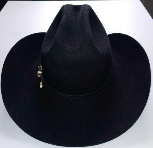 Beaver Brand Hats Black Beaver Felt Cowboy Hat Silver Belt Buckle Band 6 3/4