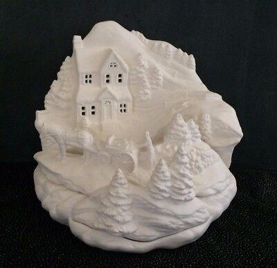 Ceramic Bisque Winter Home Scene, Ready to Paint