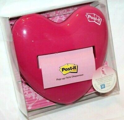 3m Post-it Pop Up Pink Heart Whimsical Weighted Note Dispenser Hd-330