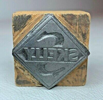 Antique Skelly Gasoline Logo Letterpress Wood Print Blocks