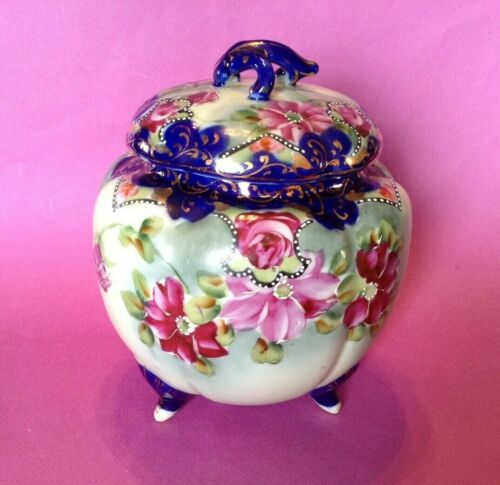 Large Footed Ginger Jar - Tea Caddy - Cobalt Blue And Gold With Roses - Japan