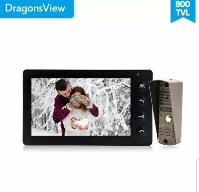 Dragonsview 7 Inch Video Door Phone Intercom System White/Black Video Door Entry