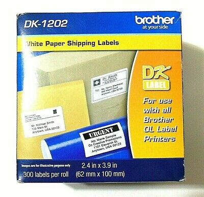 Brother Dk-1202 White Paper Shipping Labels 300 Labels 2.4 X 3.9 New