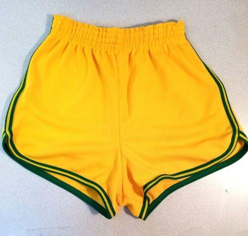 Vtg 1970s Winneshek Polyester Gym Ringer Shorts Medium Unisex Yellow & Green PE