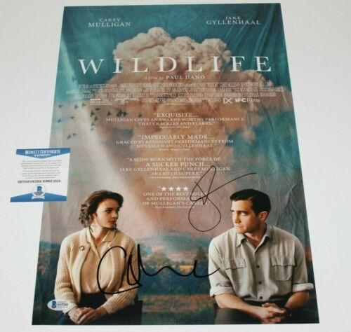 JAKE GYLLENHAAL CAREY MULLIGAN SIGNED 'WILDLIFE' 12x18 MOVIE POSTER BECKETT COA