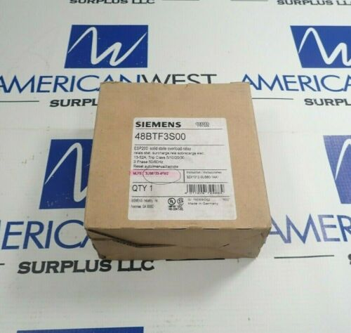 SIEMENS 48BTF3S00 SOLID STATE OVERLOAD RELAY 13-52A 3 PHASE *NEW*