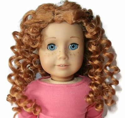 """Custom Girl Doll Wig 10-11"""" Curly Red American Seller - Fits JLY Truly Me 33"""