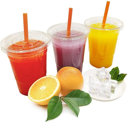 BULK [100 Set] Disposable Plastic To Go Cups with Flat Lids and Straws - Clear