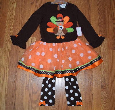 NWT Girls EMILY ROSE Brown Orange Thanksgiving Turkey Dress Shirt Set Size 2T