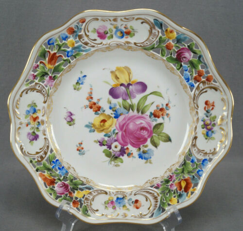 Carl Thieme Dresden Hand Painted Floral & Gold Reticulated Dinner Plate H