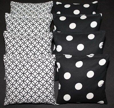 CORNHOLE BEAN BAGS Black & White Circle Dots ACA Regulation Outdoor Wedding Game