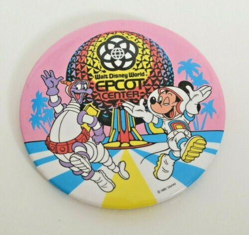 """1982 Walt Disney World Epcot Center 3"""" Pin with Mickey Mouse and Figment"""