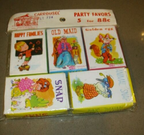 Vintage Carrousel Set of 5 Card Games-Old Maid-Snap-Golden Egg-Animal Snap-Happy