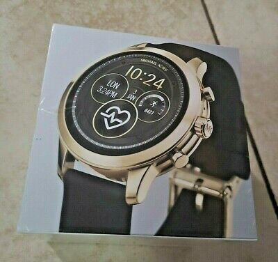 New Michael Kors Sofie Black & Gold Series 4 Runway Smart Watch MKT5053