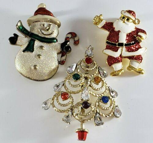 Christmas Holiday  Brooch Pin Marquis Tree Rhinestones Snowman Santa Lot