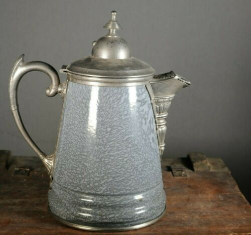 Vintage Premium Graniteware Enamelware Coffee Pot Teapot