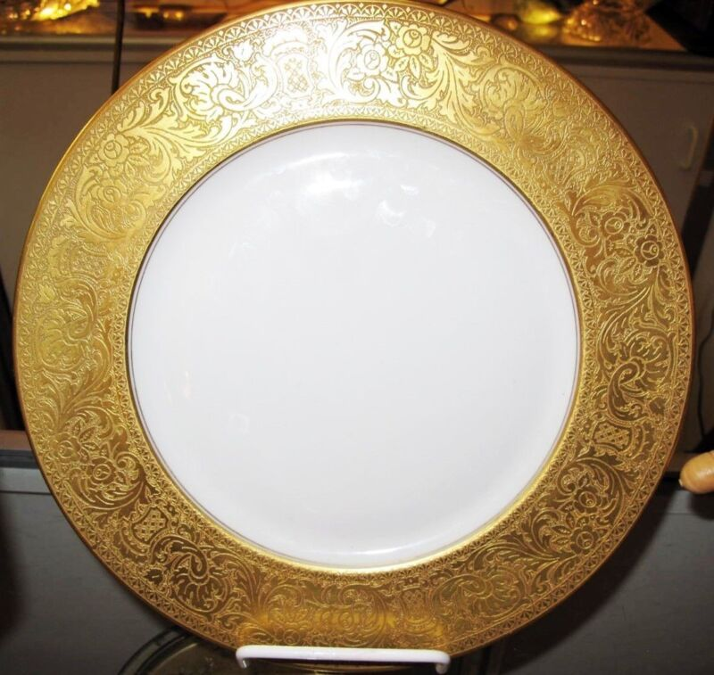 "Heinrich & Co Gold Encrusted Floral Embossed Edge 11"" Dinner Plate"