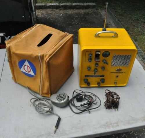 MINT GONSET CIVIL DEFENSE COMMUNICATOR III 6 METER MICROPHONE AC/DC PLUG ANTENNA