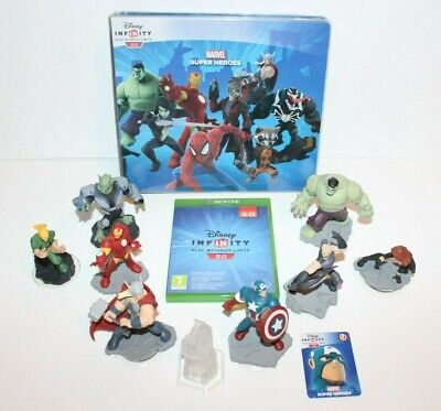 XBox One Disney Infinity 2.0 Marvel Game 8x Figures 1x Crystal 19x Tokens PAL