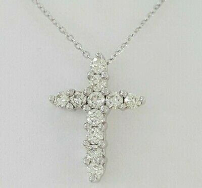 0.45 ct 14K White Gold Round Brilliant Cut Diamond Cross Necklace 16