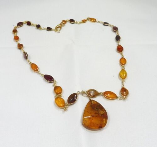 VINTAGE GOLD WIRE AMBER NECKLACE