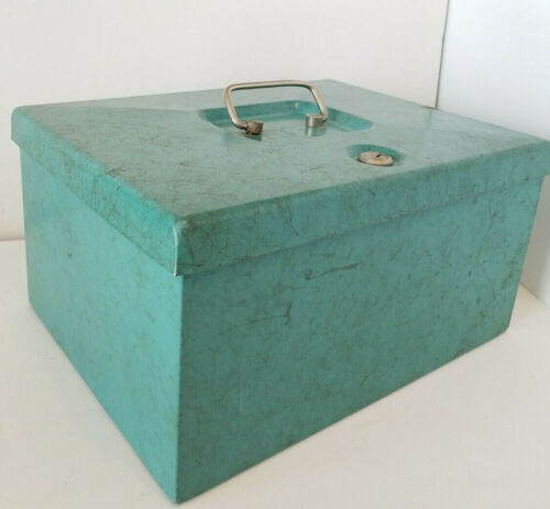 HEAVY Vintage MID CENTURY Teal Blue Green STRONG BOX With Lock NO Key