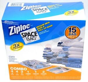 15 ORIGINAL ZIPLOC Space Saver Vacuum Storage Bag Set Combo Value Pack Bags New