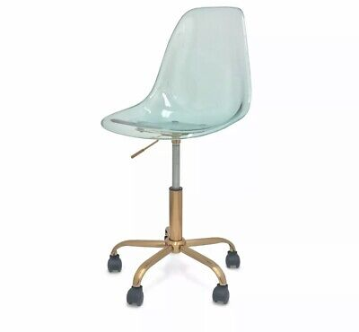 I.n.i Armless Acrylic Rolling Office Mint Chair Golden Base Wheel Yucca