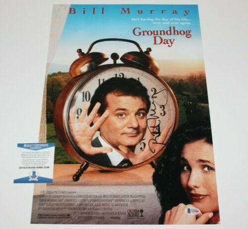 ACTOR BILL MURRAY SIGNED 'GROUNDHOG DAY' 12x18 MOVIE POSTER BECKETT COA BAS