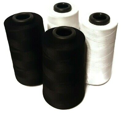 4 Pcs. 6000 Each Yards Sewing Machine Polyester Thread Cones  2 Black 2 white