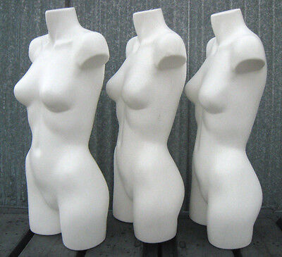 Used Mn-aa18 3 Pc White 34 Female Torso Plastic Mannequin Form - Made In Usa