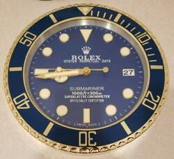 Rolex Submariner Dealer Wall Clock Gold Tone Blue Face w/ Date (MINT CONDITION)