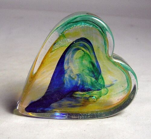 EXC. Robert Held Signed HELD Multi Colored Art Glass Heart Paperweight W/Label
