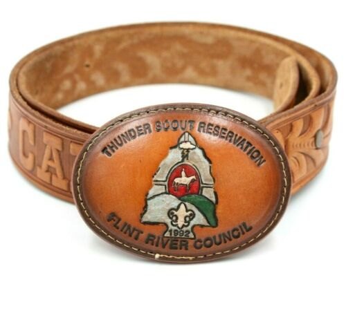 1992 Thunder Scout Reservation Flint River Council Leather Belt and Buckle Sz 40