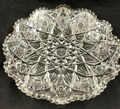 Fabulous American Brilliant ABP Heavy Intricate Cut Glass Large Serving Tray