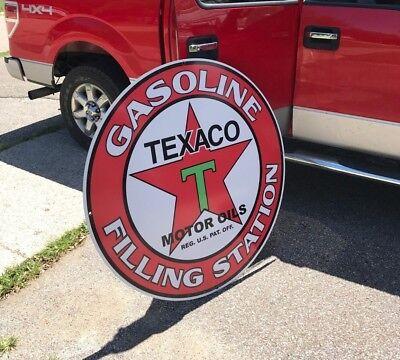 "TEXACO GAS OIL SIGN 42"" VERY LARGE ADVERTISING VINTAGE LOOK PEGASUS MOBILE"