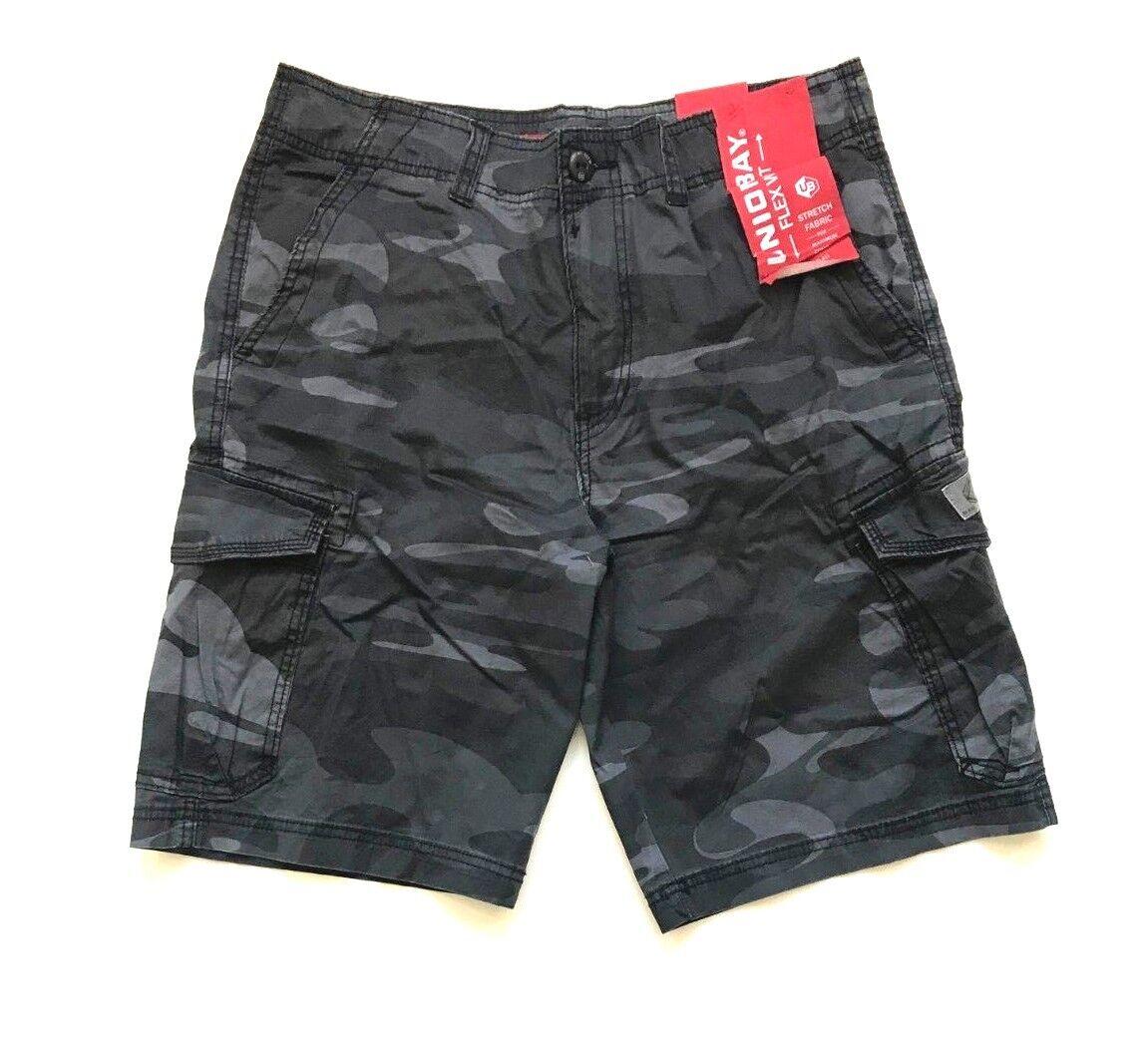 NWT Unionbay Men's Lightweight Cargo Shorts Black Camo, Si