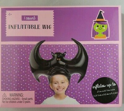 Halloween Dress Up Inflatable Blow Up Wig Hat Black Bat](Inflatable Wig)