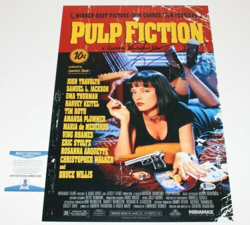 DIRECTOR QUENTIN TARANTINO SIGNED 'PULP FICTION' 12x18 MOVIE POSTER BECKETT COA