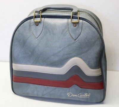 Vintage Retro Don Carter Bowling Ball Bag Grayish Blue Maroon Stripe Chevron b49769ba1a