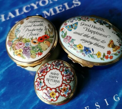 Halcyon Days Enamels Boxes x 3 Happy / Happiness / Good Health