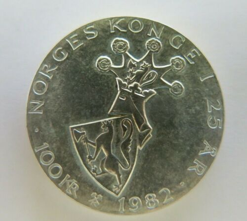 NORWAY 100 KRONER 1982 KM # 426 UNC VERY COLLECTIBLE SILVER LARGE SIZE COIN